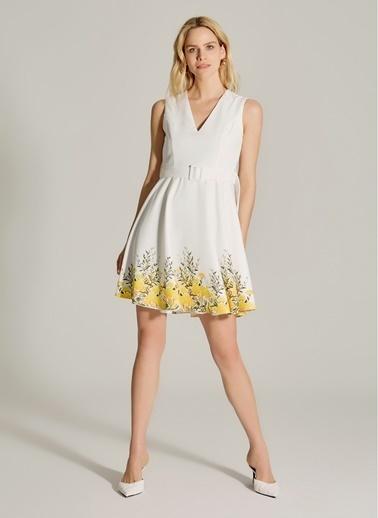 NGSTYLE Çiçek Desenli Kemerli Elbise Sarı